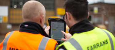 Farrans Construction employees use GoFormz mobile forms on tablet