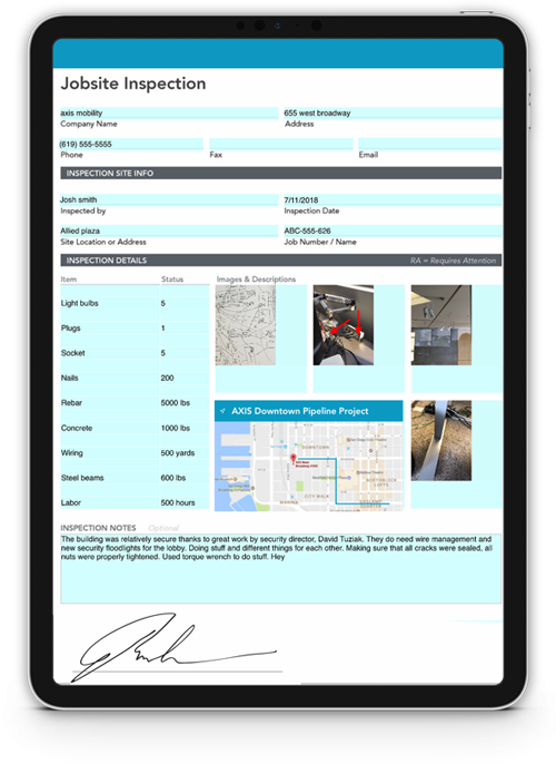 Mobile form on tablet showing data input into fields, including maps, images, tables, automatic calculations, signatures and more.