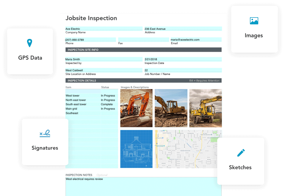 Include inspection sketches, images and GPS data in your mobile inspection forms
