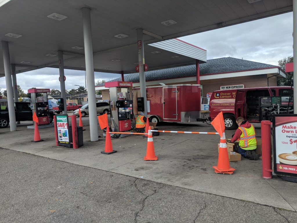 Photograph of Oscar Larson installation project at a gas station